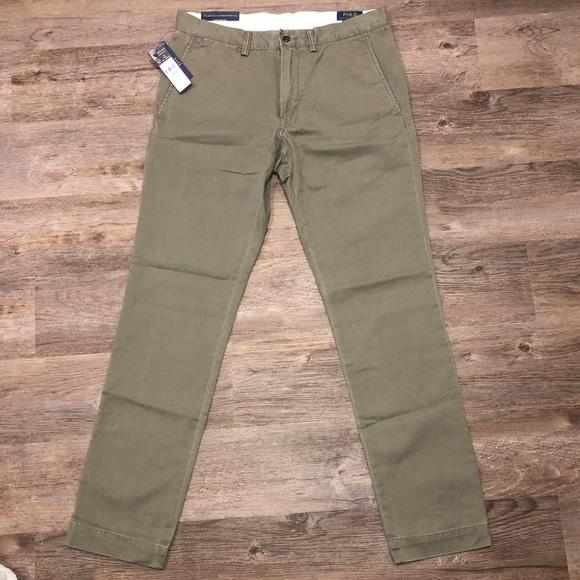 NWT POLO RALPH LAUREN Nantucket RED Cotton Slim Fit PANTS 32x32
